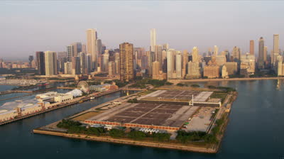stock-footage-aerial-view-chicago-skyline-navy-pier-jardine-water-purification-plant-downtown-chicago-illinois